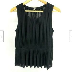 J. Crew Woman's Black Tank Pleated Top Small